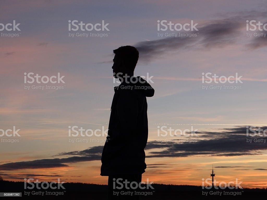 Shadow boy stock photo