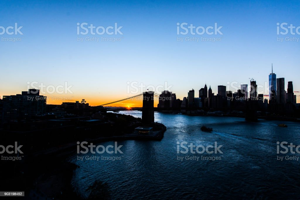 Shadow building with sunset sky in New York city America
