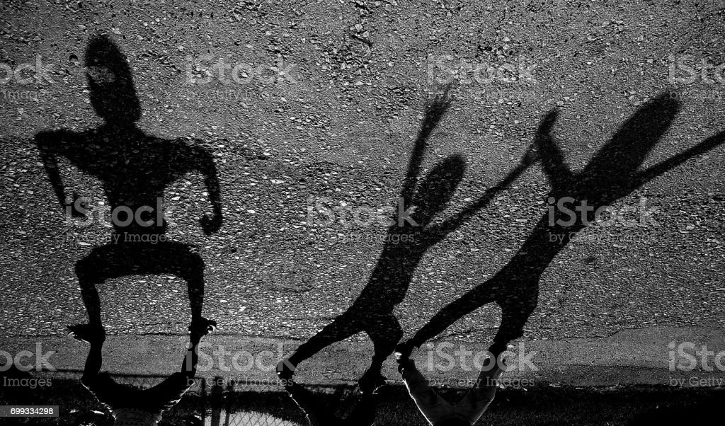 shadow children stock photo