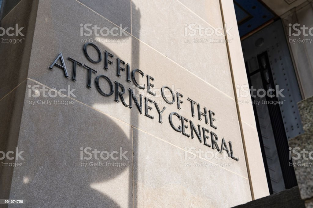 Shadow Falls Over U.S. Attorney General Sign royalty-free stock photo