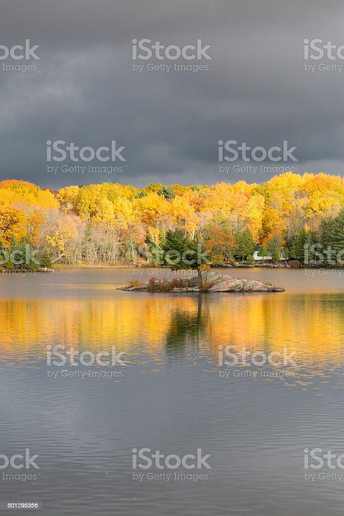 Shadow lake Autumn stock photo