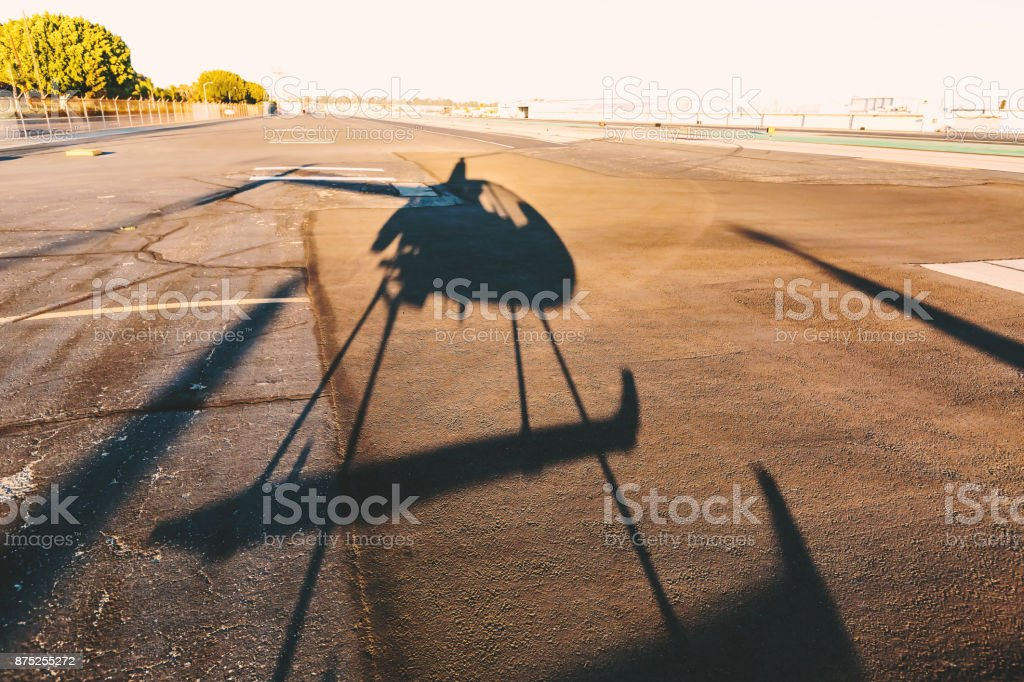 Shadow of a helicopter stock photo