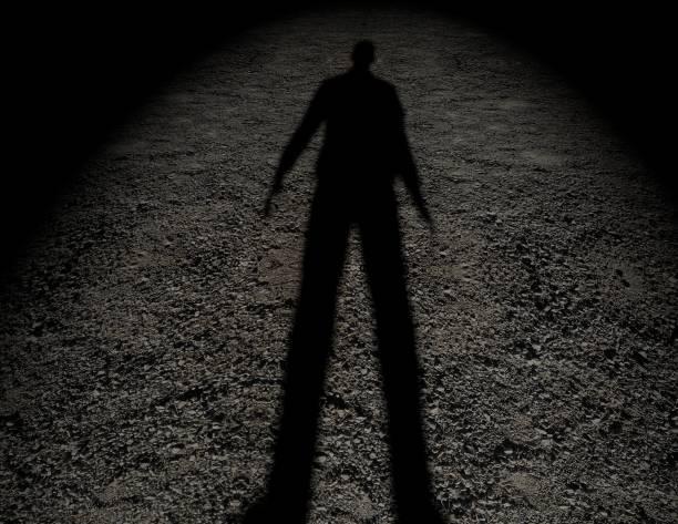 지상 짜임새에 있는 남자의 그림자입니다. - 사람 모형 제작물 뉴스 사진 이미지
