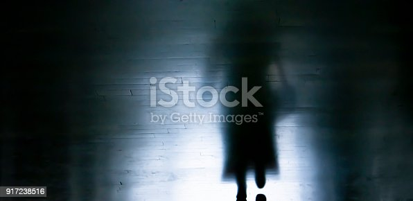 istock Shadow of a woman walking away in dark alley 917238516