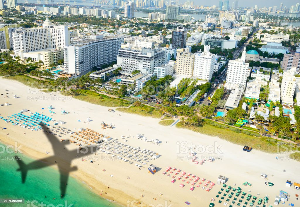 Shadow of airplane arriving in Miami stock photo
