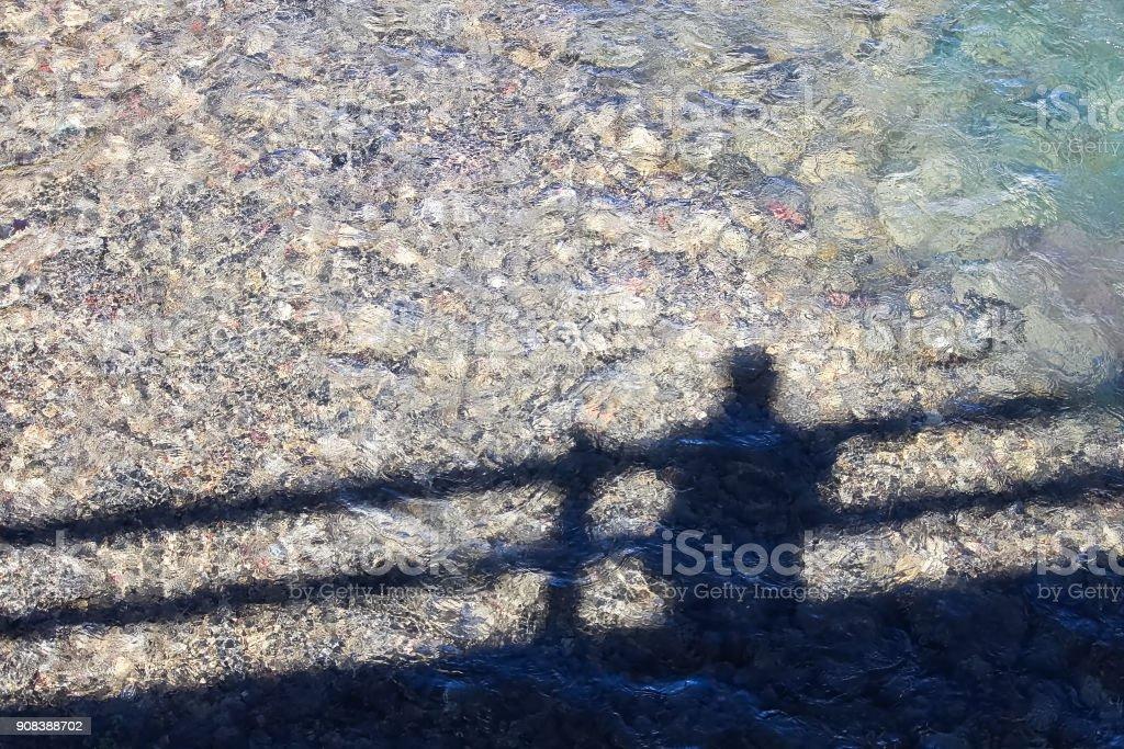 Sombra De Una Persona En Un Puente En El Agua Foto De Stock Y Mas