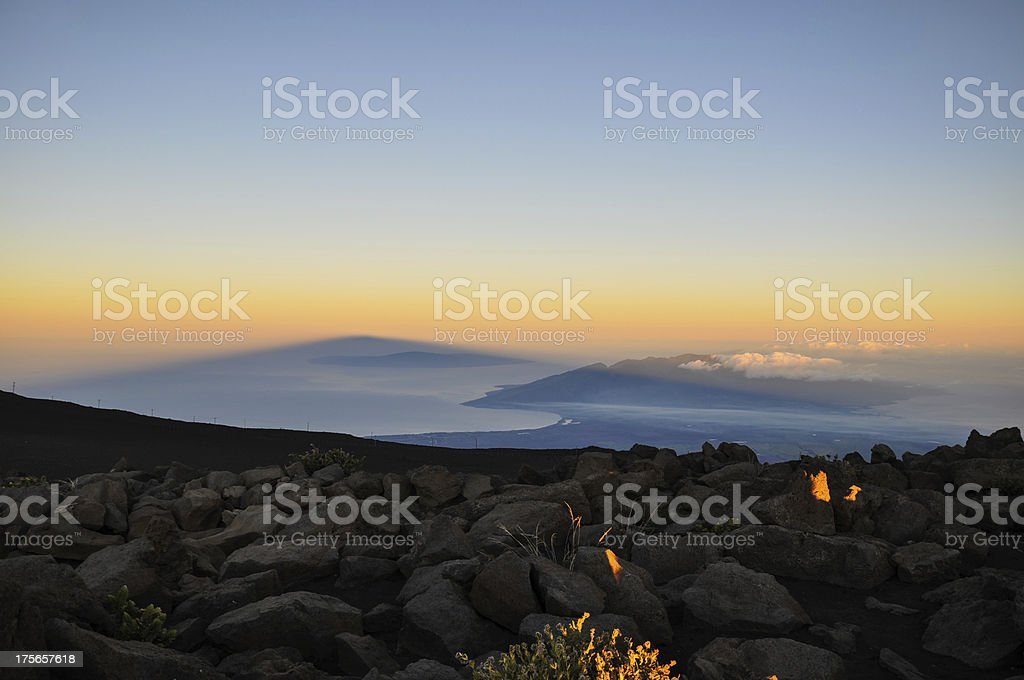Shadow of Haleakala at sunrise - Maui, Hawaii royalty-free stock photo