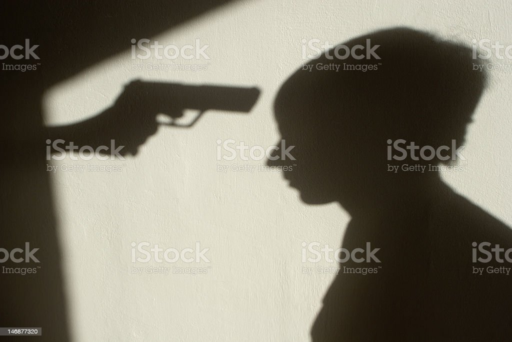 shadow of mafia execution stock photo