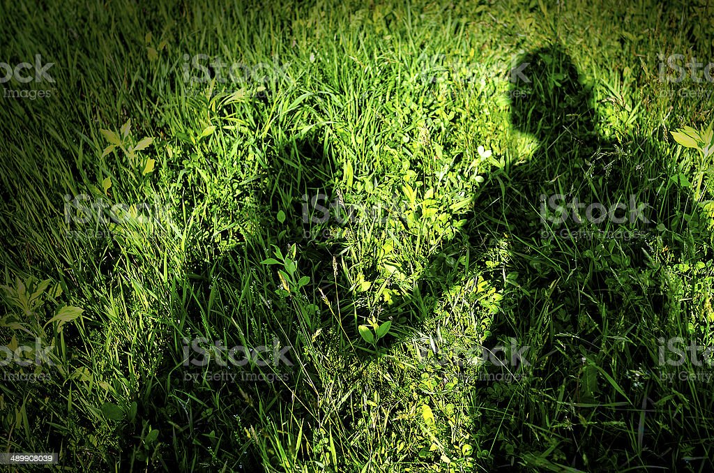 Shadow of mother and child stock photo