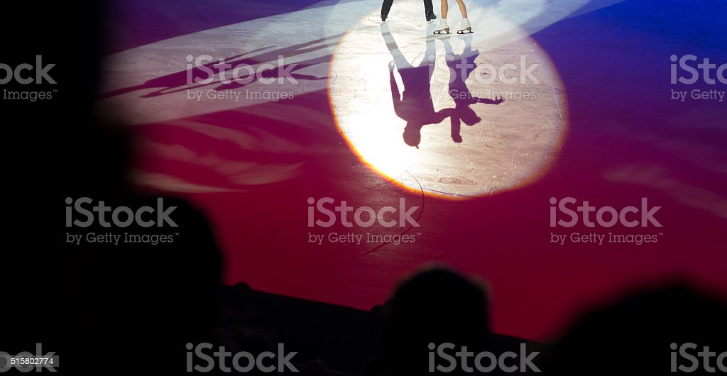 shadow of pair skater in love stock photo