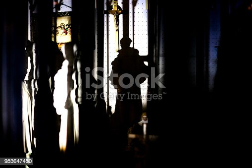458464131istockphoto Shadow of religious figurine in display - Los angeles atmosphere 953647450
