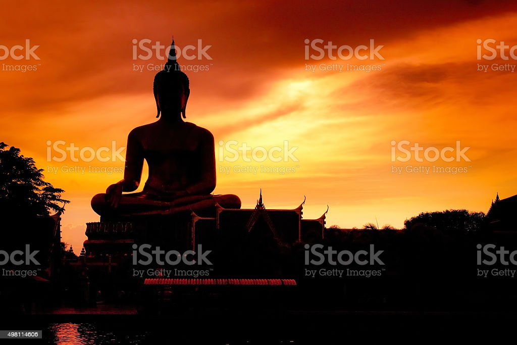 Shadow of the big buddha evening. stock photo