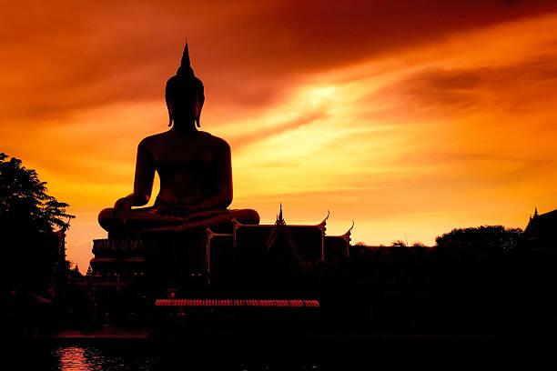 Shadow of the big buddha evening. stock photo