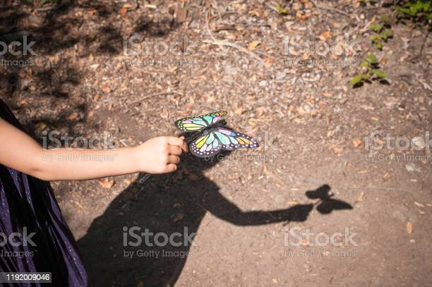 Shadow Of Young Girl Playing With Her Toy Butterfly Outdoors Stock Photo - Download Image Now