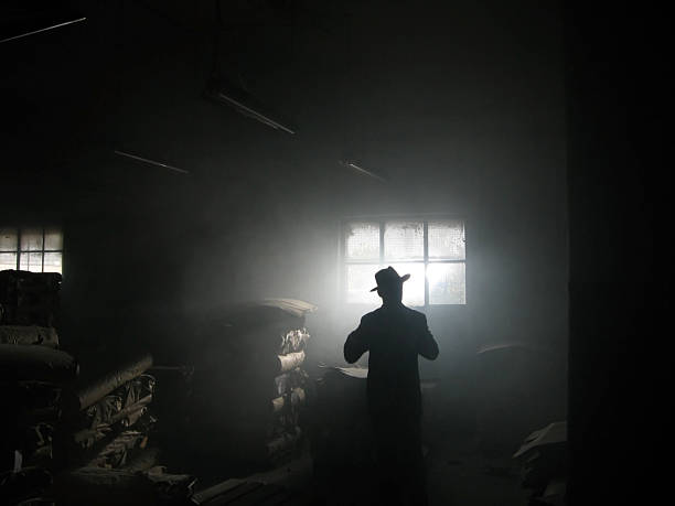shadow shadow of man standing in dark room gangster stock pictures, royalty-free photos & images