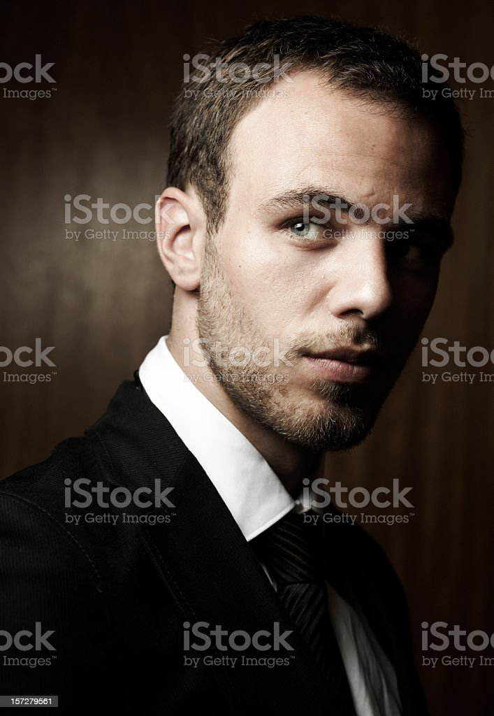 Shadowed portrait of a sharp young businessman royalty-free stock photo