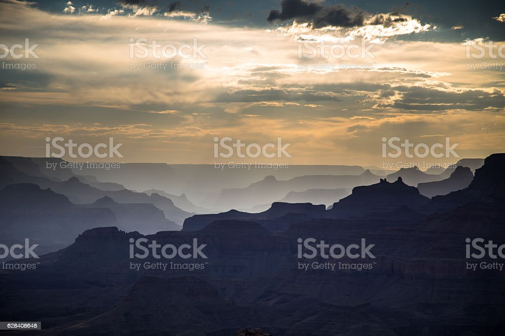 Shadown and Sunbeams in the Grand Canyon stock photo