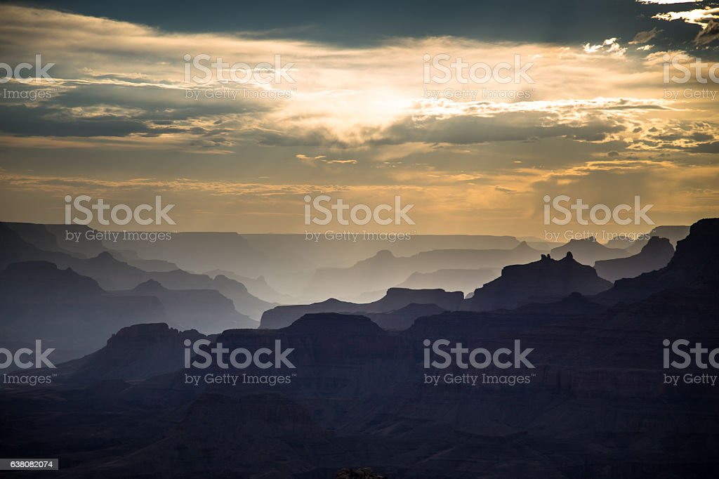 Shadows and Sunbeams on Grand Canyon Rock Formations stock photo