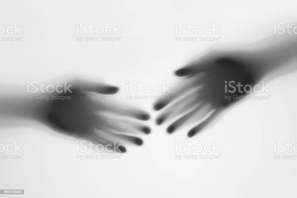 Shadows blurry hand black and white foto stock royalty-free