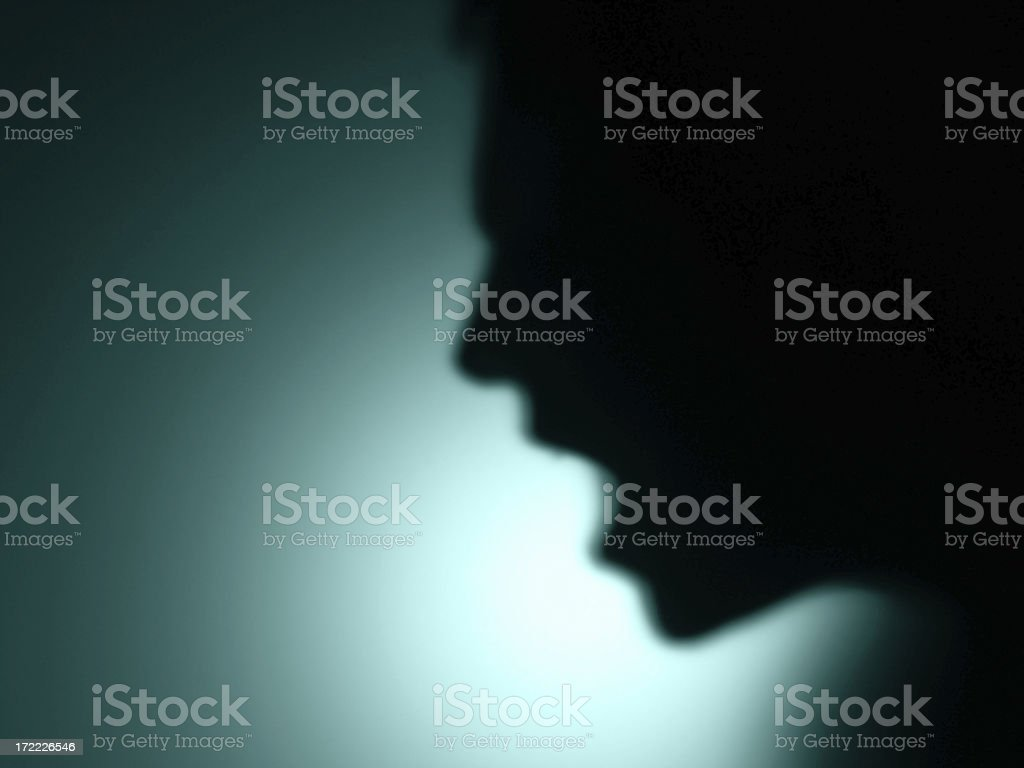 shadows: defocused man shout royalty-free stock photo