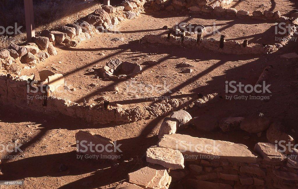 Shadows exposed foundations ancient Anasazi houses near Fremont Utah stock photo
