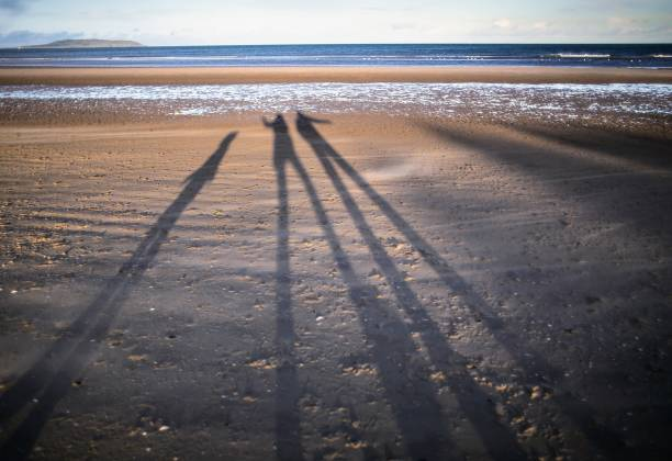 Shadows of a family dancing on the beach stock photo