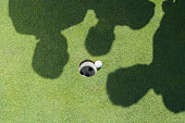 Shadows of golfers over golf ball next to hole