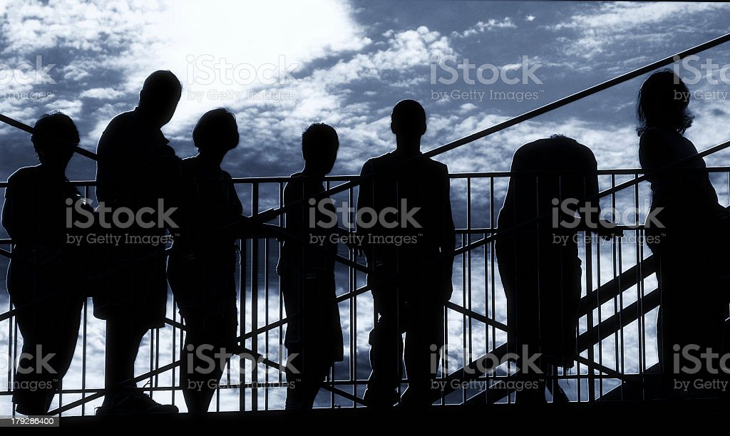 Shadows of several people waiting in line  royalty-free stock photo