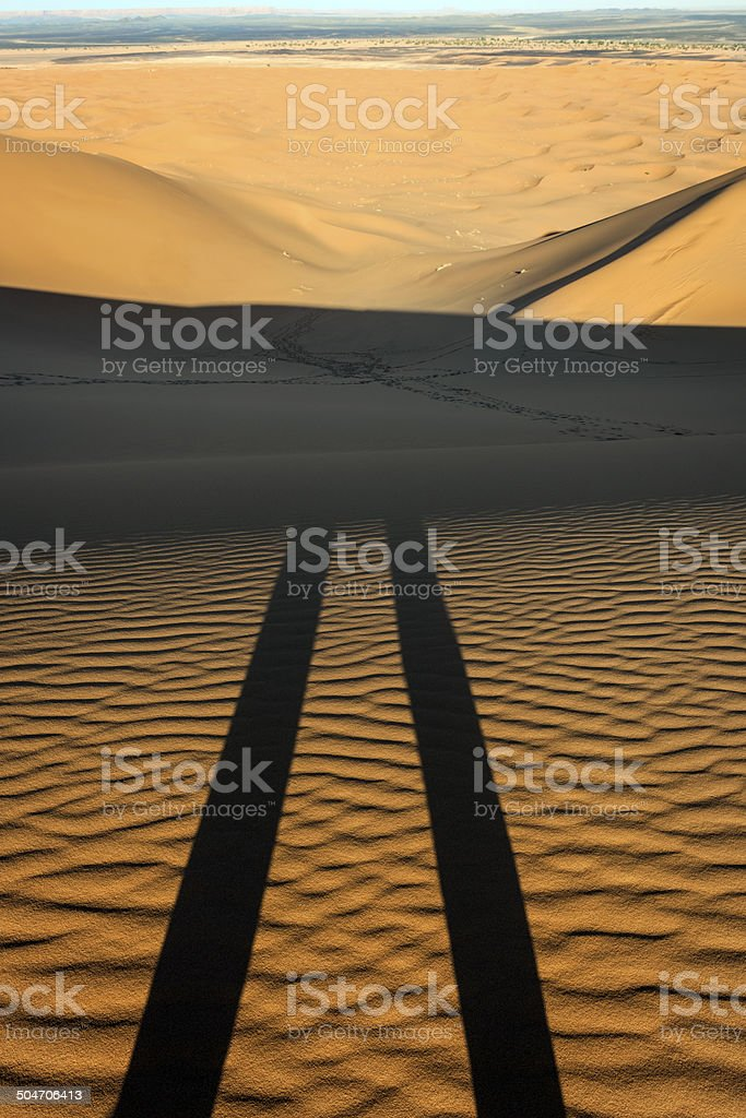 Shadows on Erg Chebbi Sand Dunes, Morocco, Africa royalty-free stock photo