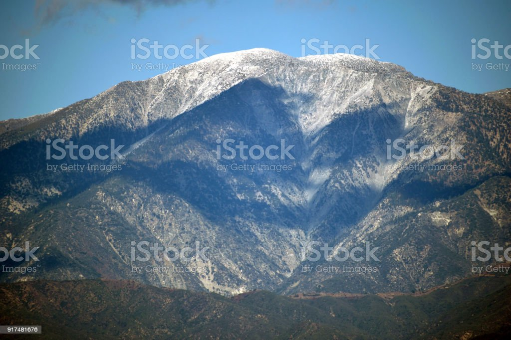 Shadows on Mount San Antonio stock photo