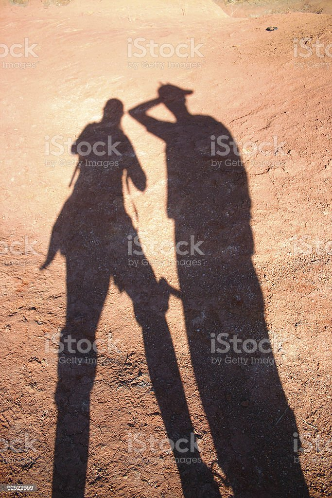 shadows on red rock royalty-free stock photo