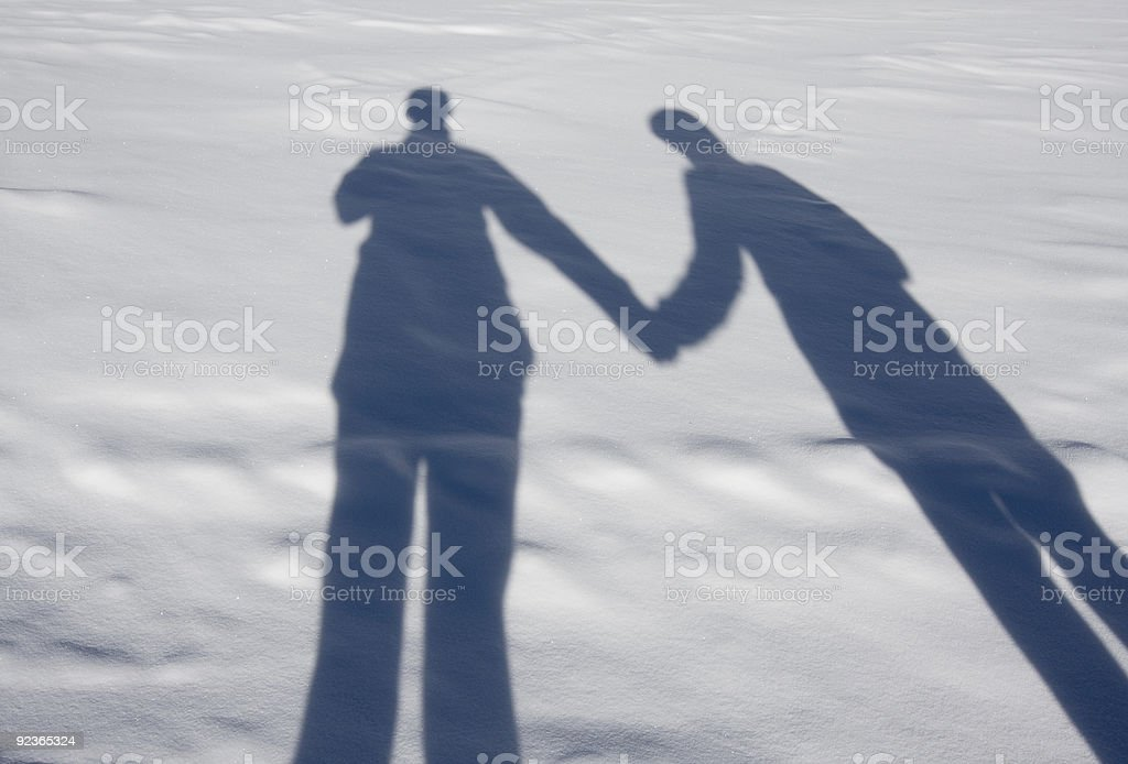 Shadows on the snow royalty-free stock photo