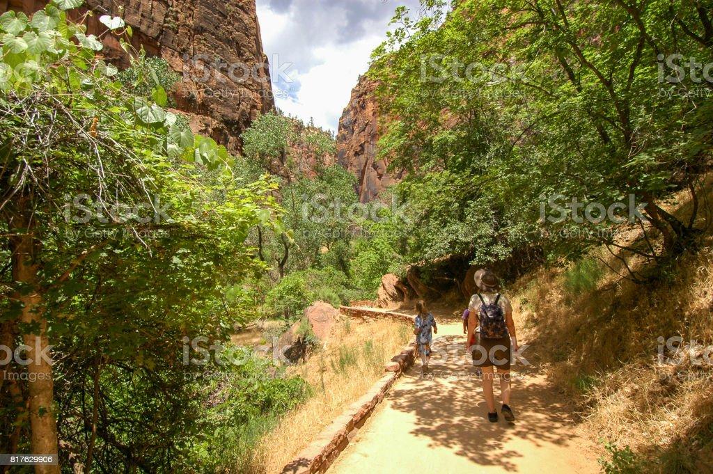 Shady trail moment stock photo