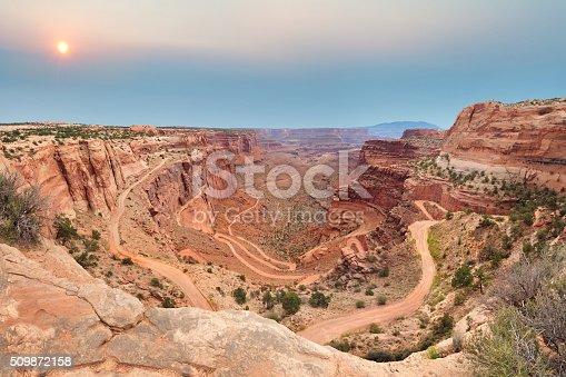 Shafer Trail Road switchbacks in Canyonlands National Park near Moab, Utah, U.S.A.