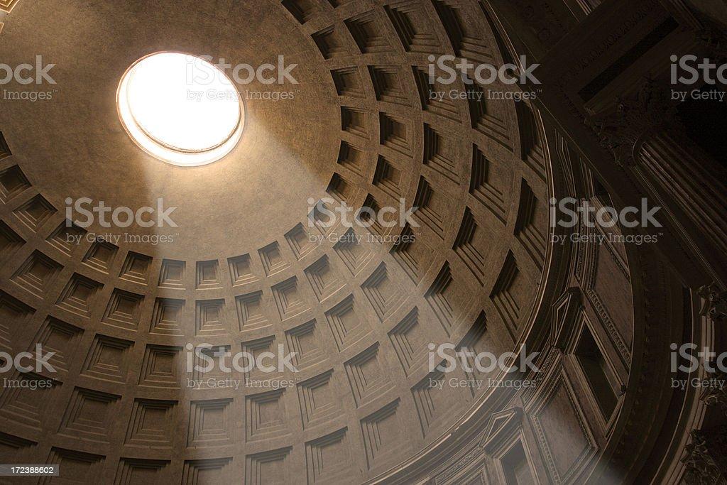 Shaft of light shining through oculus of Pantheon stock photo