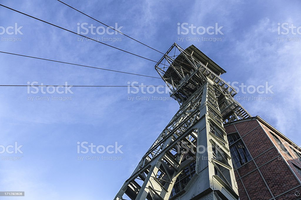 shaft tower of coal mine stock photo