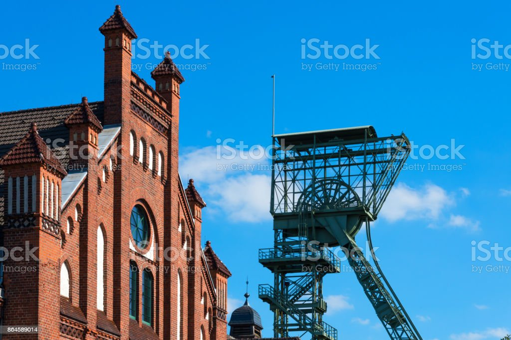 Shaft tower of former coal mine at Bochum stock photo