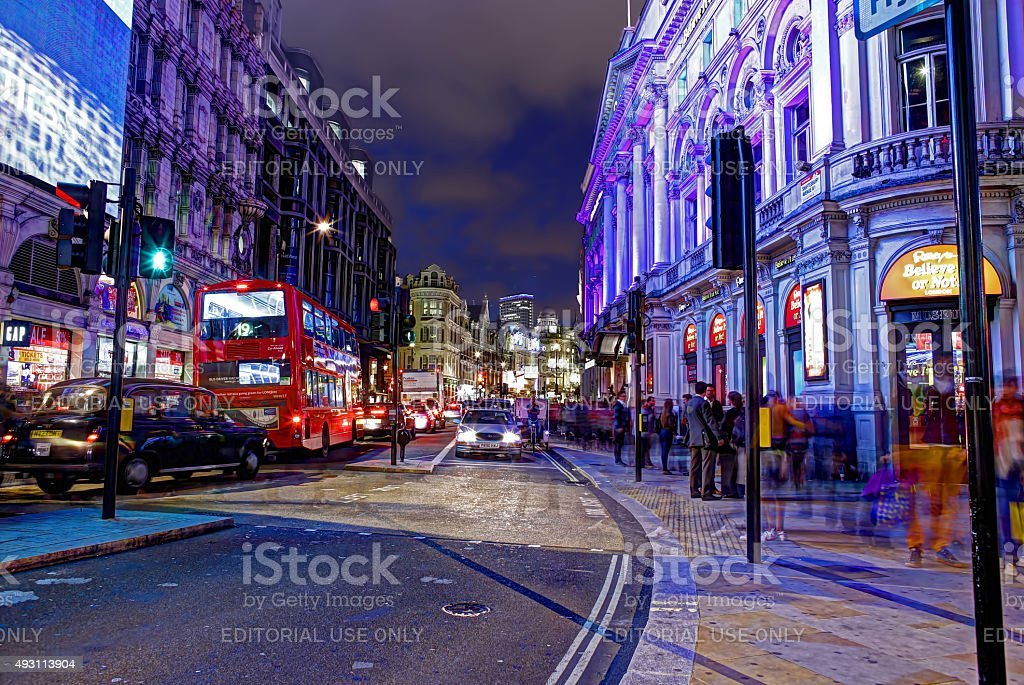 Shaftesbury Avenue from Piccadilly Circus at night stock photo