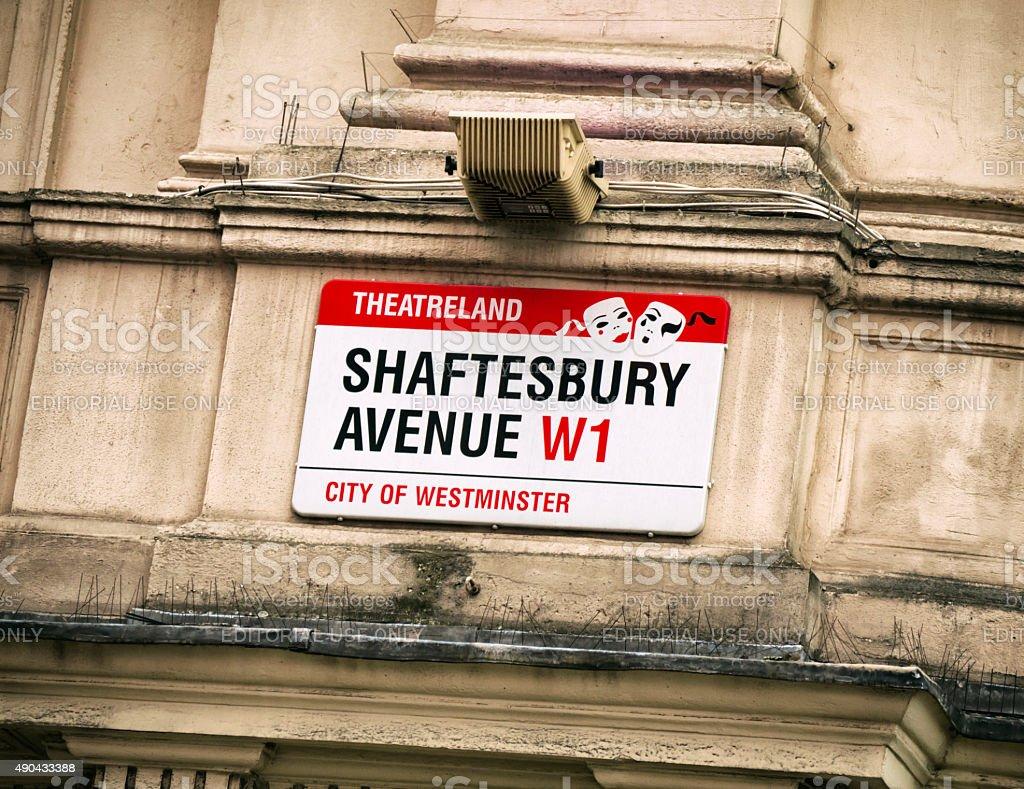 Shaftesbury Avenue street sign, London stock photo