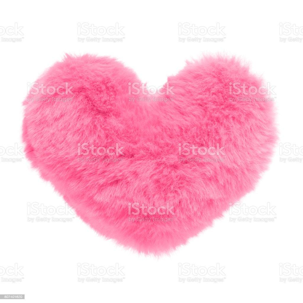 Shaggy coeur rose isolé sur fond blanc photo libre de droits