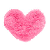 Shaggy pink heart isolated on white background