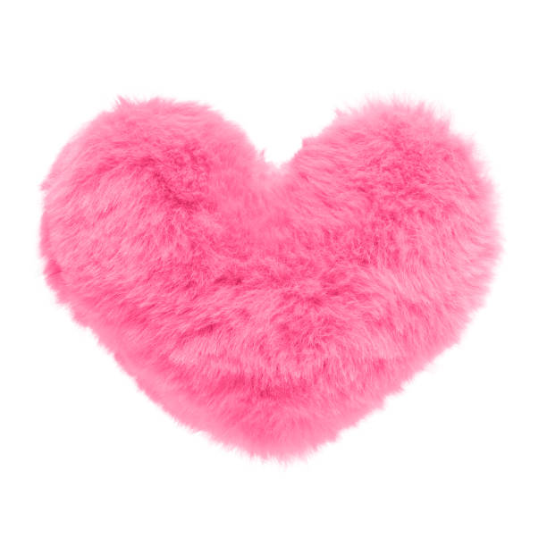 Shaggy pink heart isolated on white background stock photo