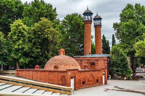Ganja city Azerbaijan, 28 July, 2021. Shah Abbas old mosque in Ganja city built in 1601
