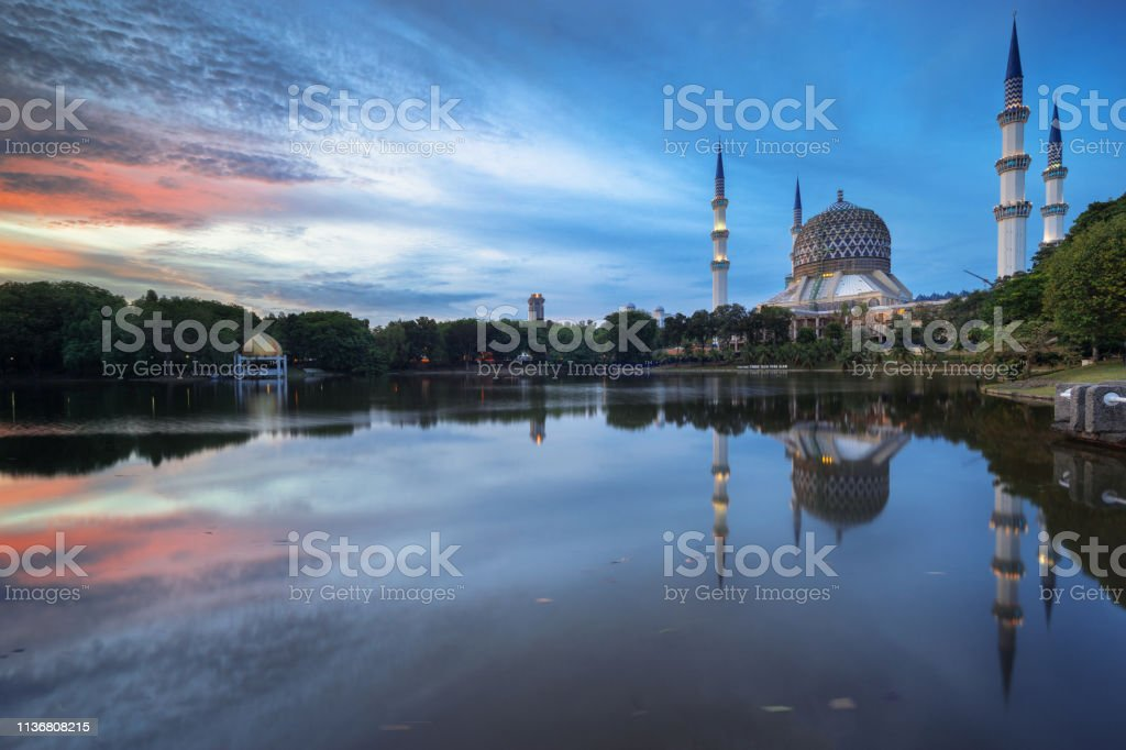 Shah Alam Blue mosque stock photo