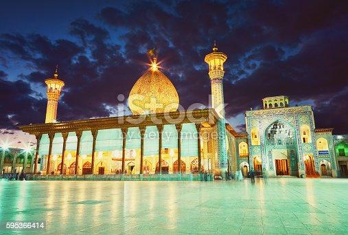 Shah Cheragh mosque after sunset. Shiraz, Iran