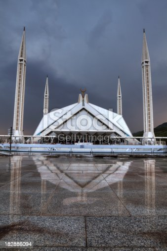 The Faisal Mosque after sunset in Islamabad is the largest mosque in Pakistan and South Asia and the sixth largest mosque in the world. HDR image