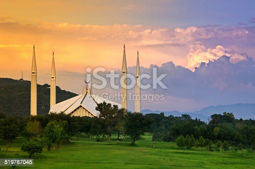An eye catching view of Shah Faisal Mosque  -The largest mosque in  Pakistan (Islamabad)