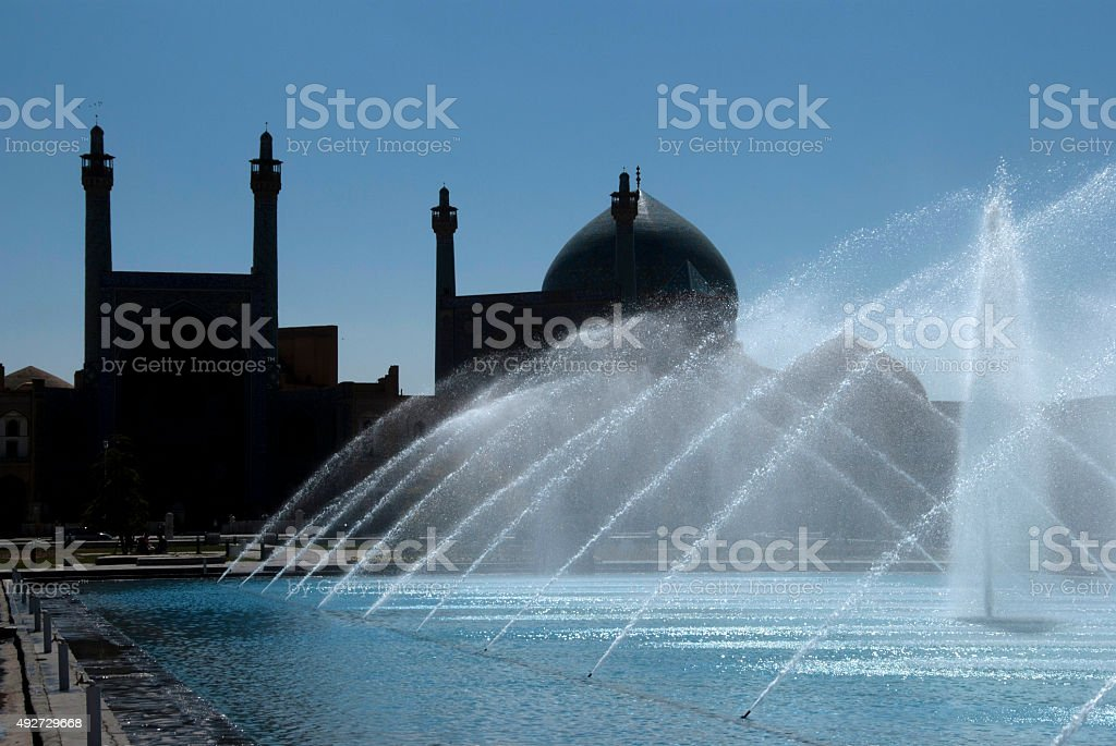 Shah Mosque Silhouette, Naghsh-i Jahan Square, Isfahan, Iran stock photo
