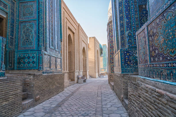 Shah-I-Zinda Mausoleums in Samarkand, Shakhi Zinda memorial complex of islamic architecture from 9 do 12. century in Samarkand. silk road stock pictures, royalty-free photos & images