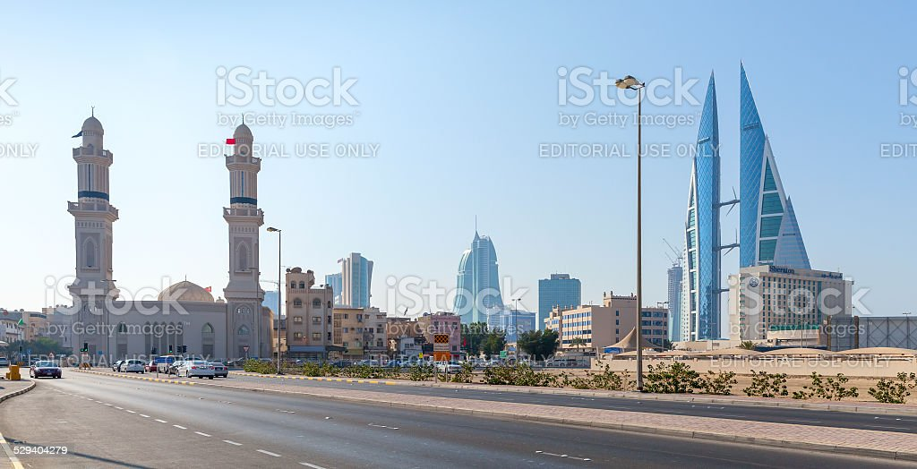 Shaikh Hamad Causeway in Manama, Bahrain stock photo
